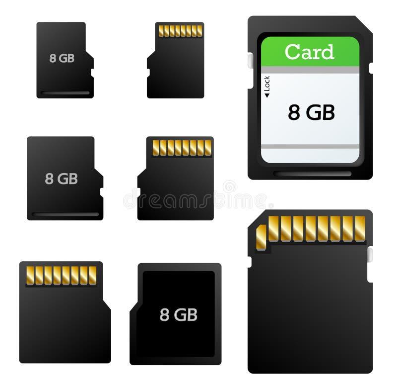 De reeks van de geheugenkaart stock illustratie