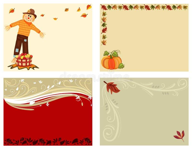 De reeks van de herfst van 4 kaarten vector illustratie