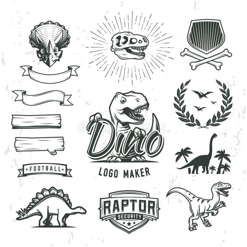 De reeks van de het embleemmaker van Dino Dinosaurus logotype schepper Vectort -t-rex bannermalplaatje royalty-vrije stock foto