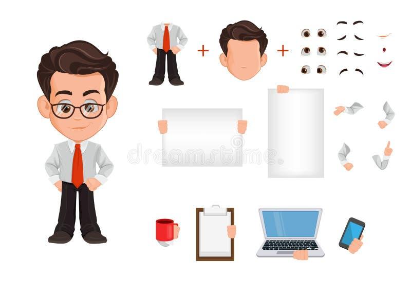De reeks van de het karakterverwezenlijking van het bedrijfsmensenbeeldverhaal, aannemer Leuke jonge zakenman in bureaukleren royalty-vrije illustratie