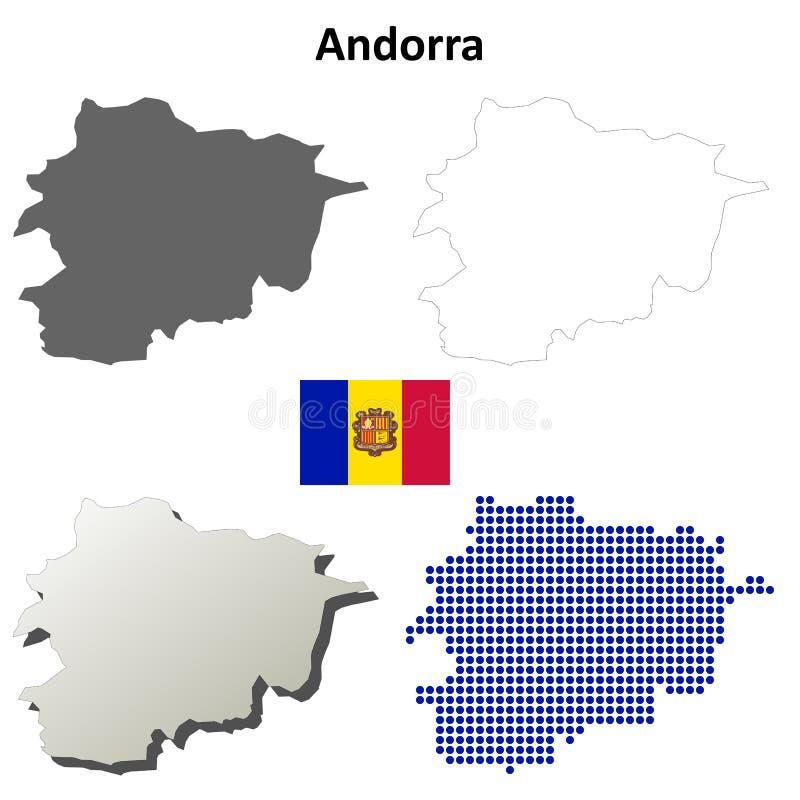 De reeks van de het overzichtskaart van Andorra vector illustratie