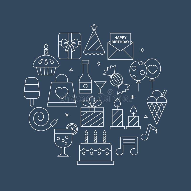 De reeks van de het pictogramcirkel van de verjaardagslijn royalty-vrije illustratie
