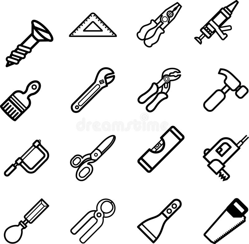 De reeks van de het pictogramreeks van het hulpmiddel royalty-vrije illustratie