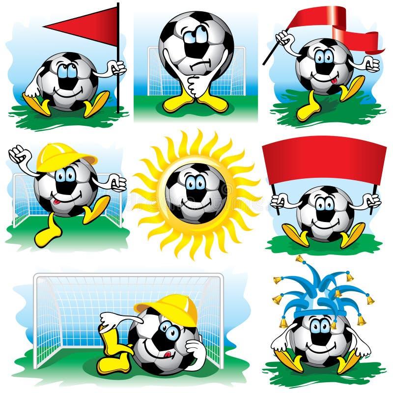 De reeks van de het voetbalbal van het beeldverhaal royalty-vrije illustratie