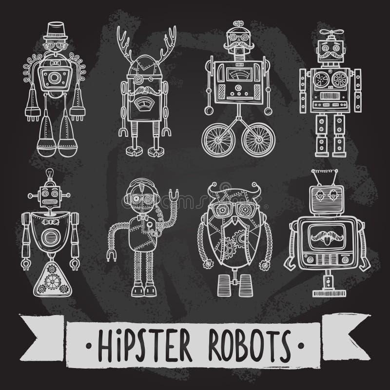 De reeks van de Hipsterrobot stock illustratie