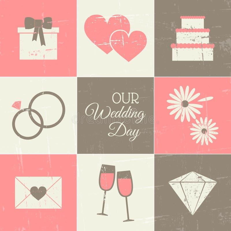De Reeks van de huwelijksdag stock illustratie