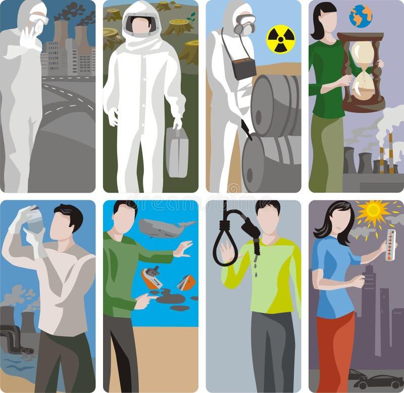 De Reeks van de Illustratie van de ecologie stock illustratie