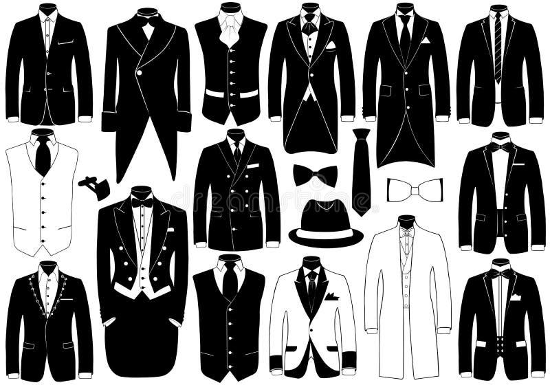 De Reeks van de Illustratie van kostuums royalty-vrije illustratie