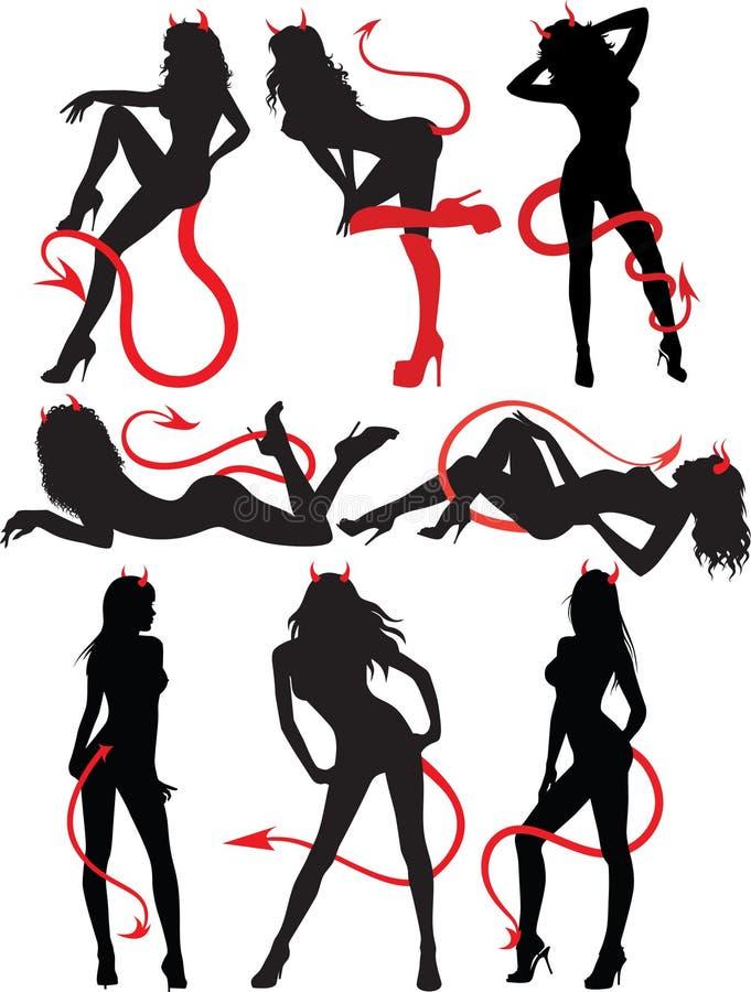De Reeks Van De Inzameling Mooie Sexy Duivelsvrouwen Royalty-vrije Stock Foto