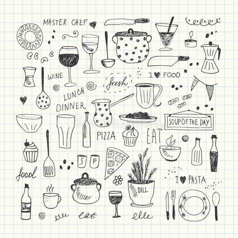 De reeks van de keukengereedschapkrabbel Hand getrokken vectorillustratie vector illustratie