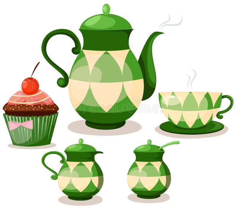 De reeks van de koffie of theestel en kopcake vector illustratie