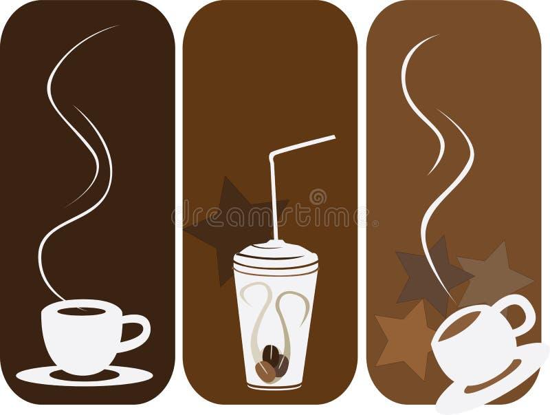 De reeks van de koffie van 3 vector illustratie