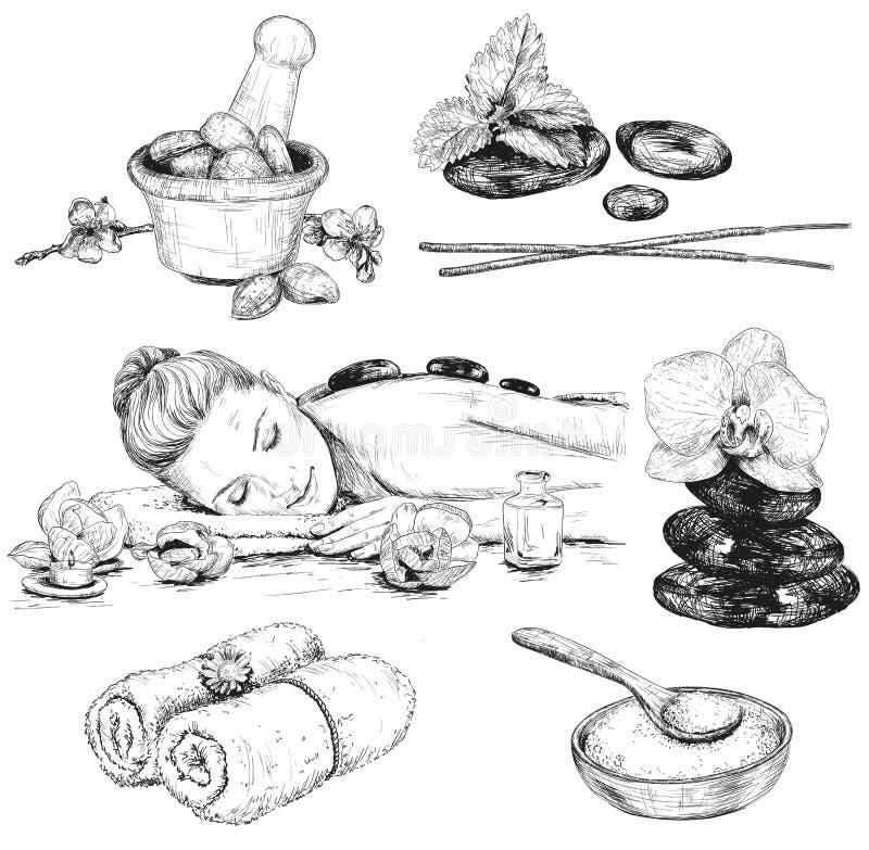 De reeks van de kuuroordschets royalty-vrije illustratie