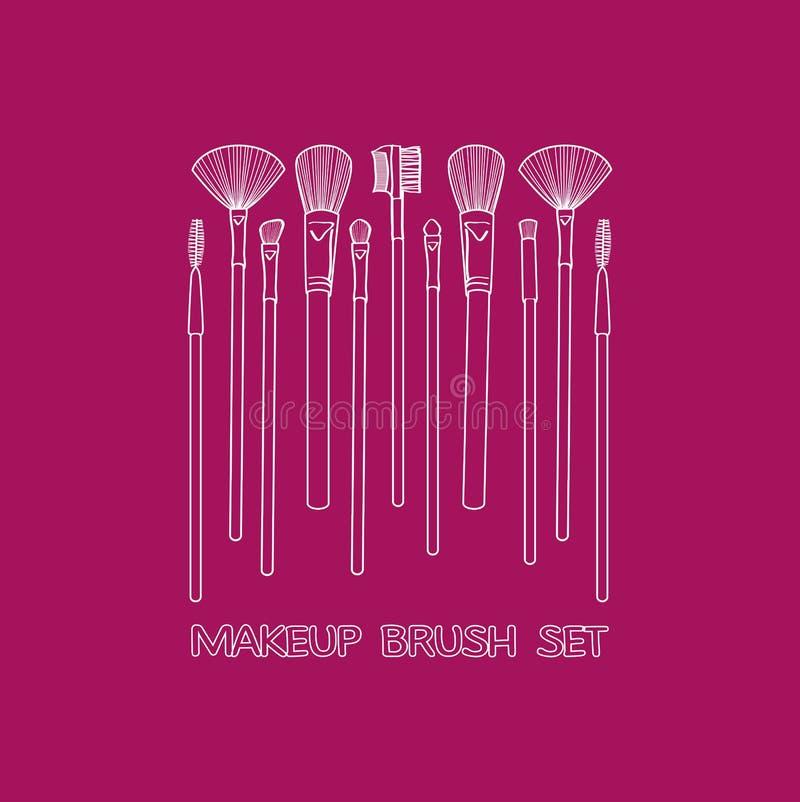 De Reeks van de make-upborstel stock illustratie