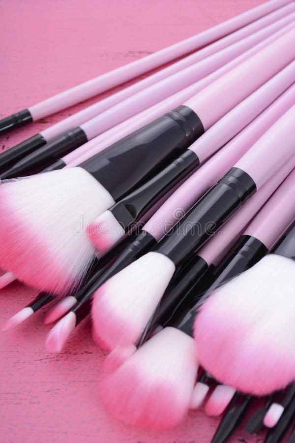 De reeks van de make-upborstel stock fotografie