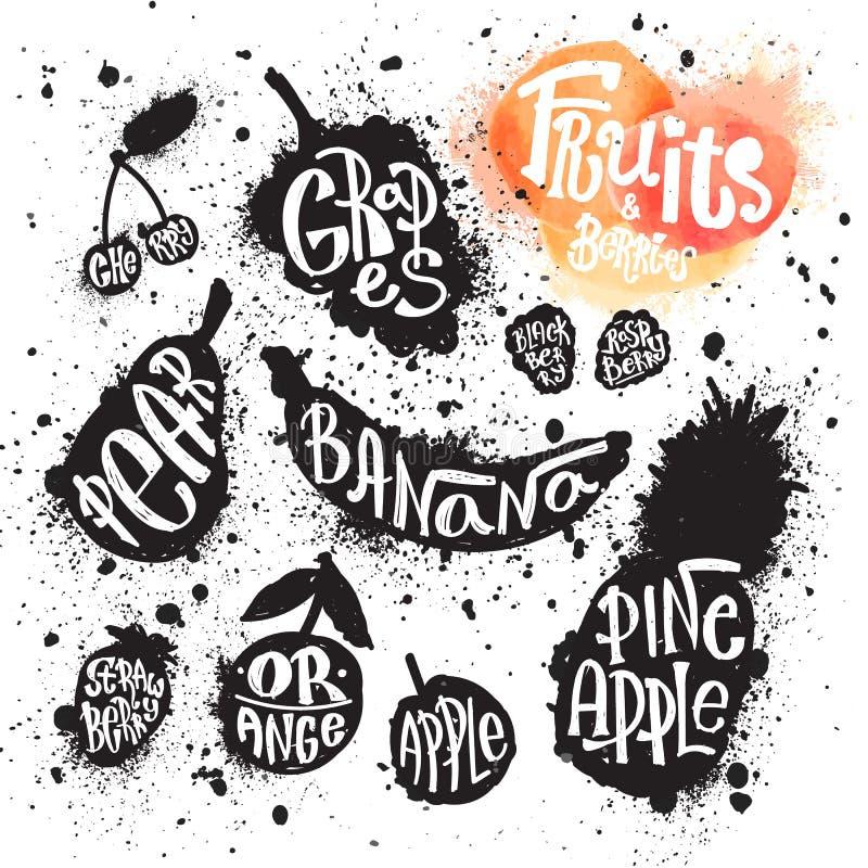 De reeks van de nevelverf van inkt ploetert vruchten en bessensilhouetten royalty-vrije illustratie