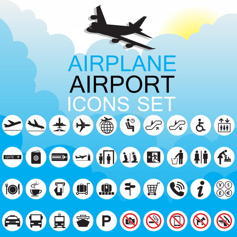 De reeks van de pictogramluchthaven royalty-vrije illustratie