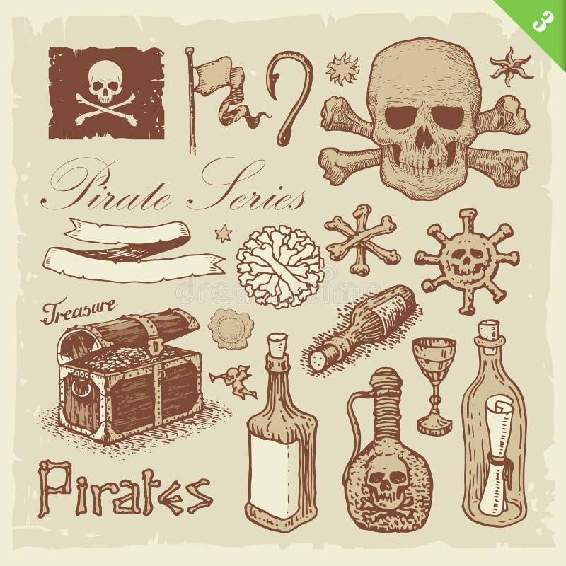 De Reeks van de piraat stock illustratie