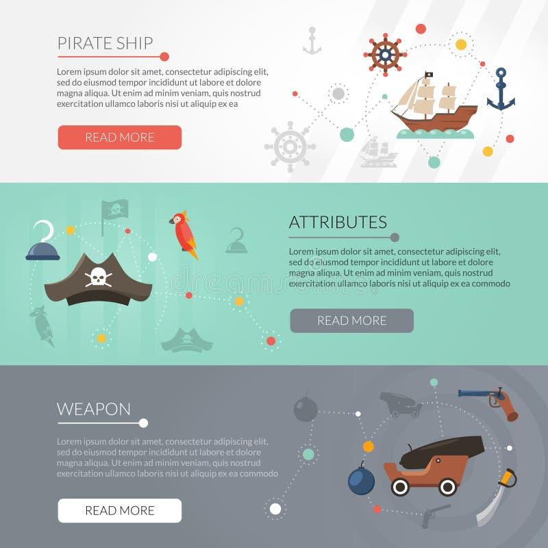 De reeks van de piraatbanner stock illustratie