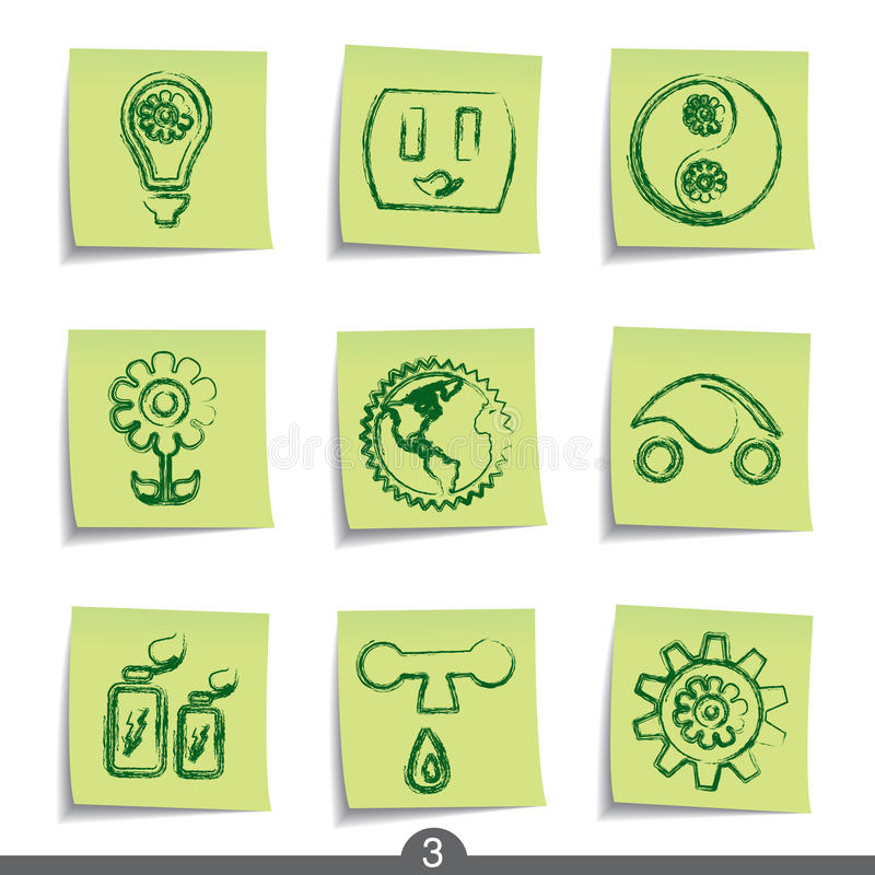 De reeks van de post-it - ecologie stock illustratie