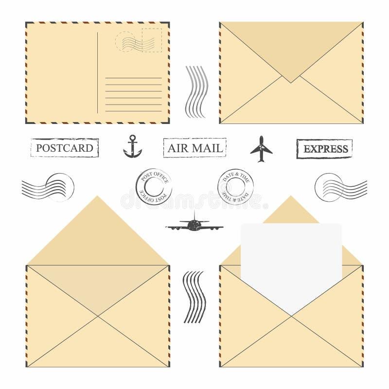 De reeks van de postenvelop Uitstekende postenveloppen met postzegels, kaders en lege brief stock illustratie