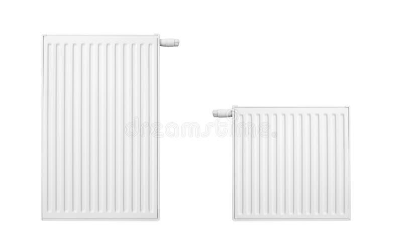 Twee radiators geplaatst die op wit worden geïsoleerdl royalty-vrije stock foto