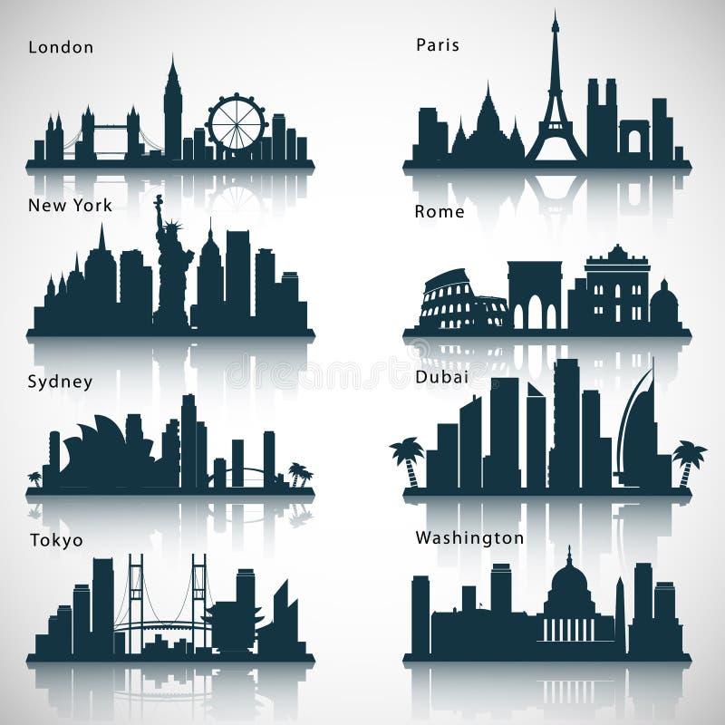 De reeks van de stadshorizon Vector silhouetten stock illustratie