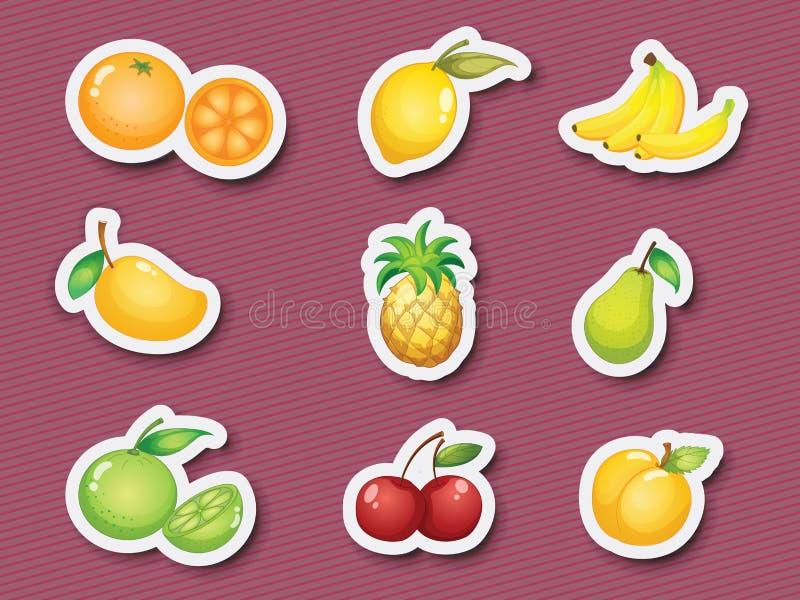 De reeks van de sticker vruchten vector illustratie