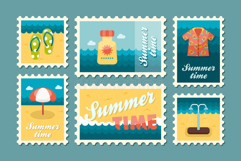De reeks van de strandzegel De zomer Vakantie royalty-vrije illustratie