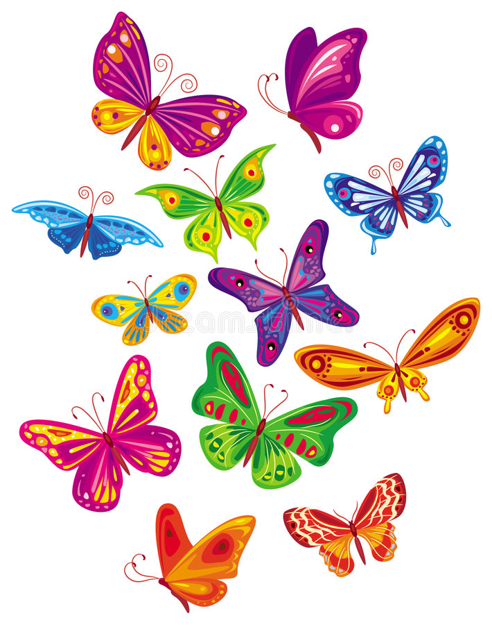 De reeks van de vector kleurrijke vlinder vector illustratie