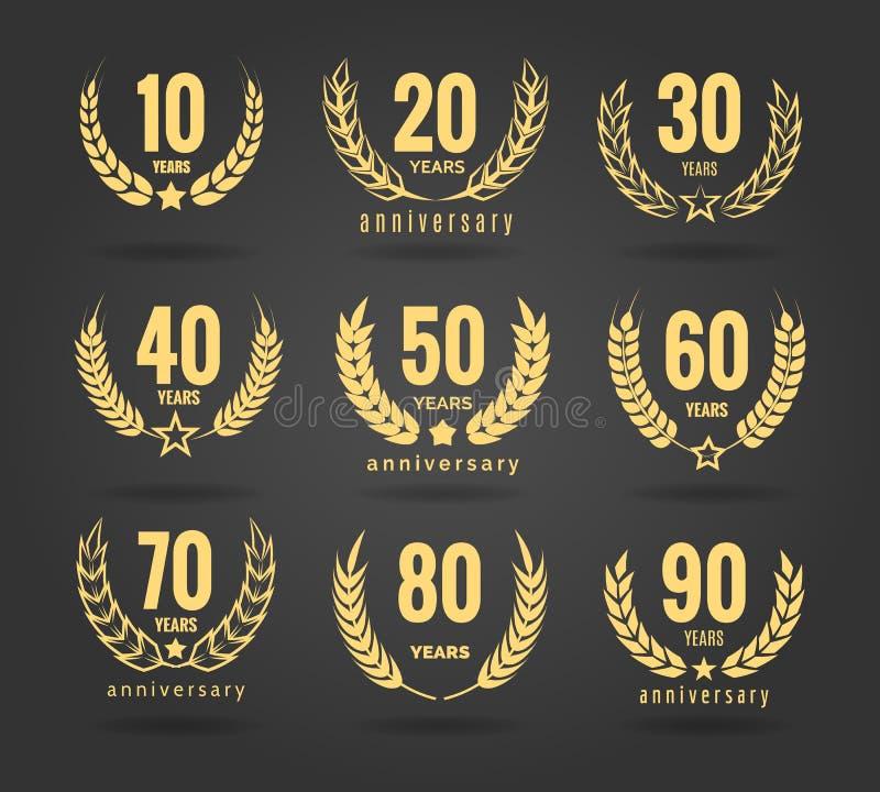 De reeks van de verjaardagskroon vector illustratie