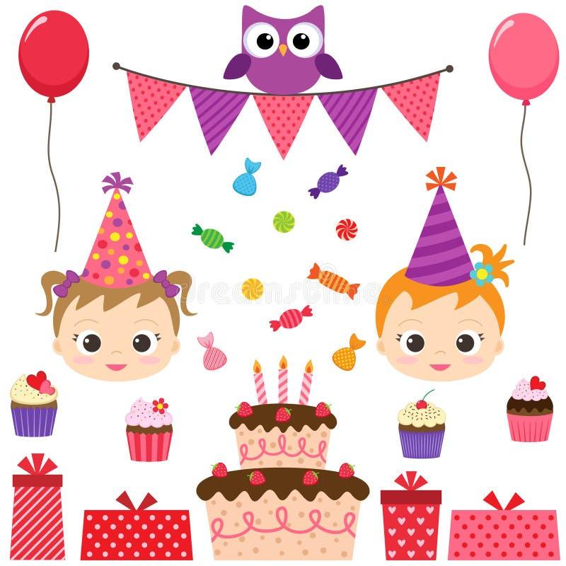 De reeks van de verjaardagspartij vector illustratie