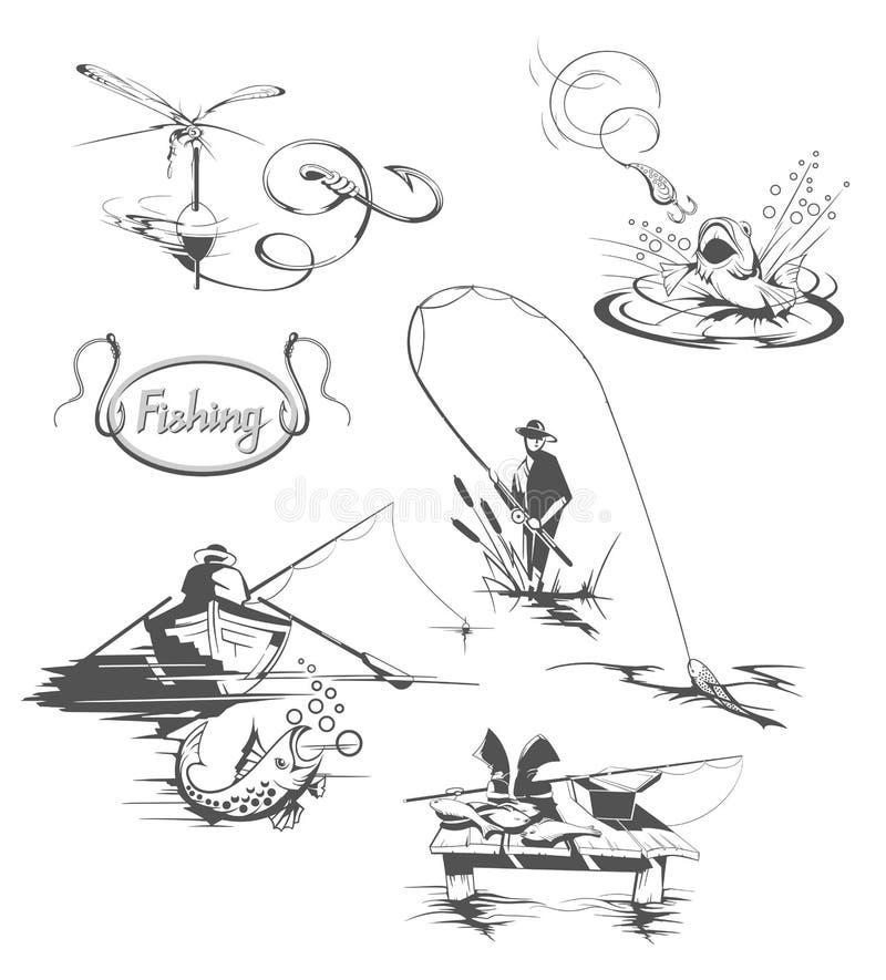 De reeks van de visserij royalty-vrije illustratie