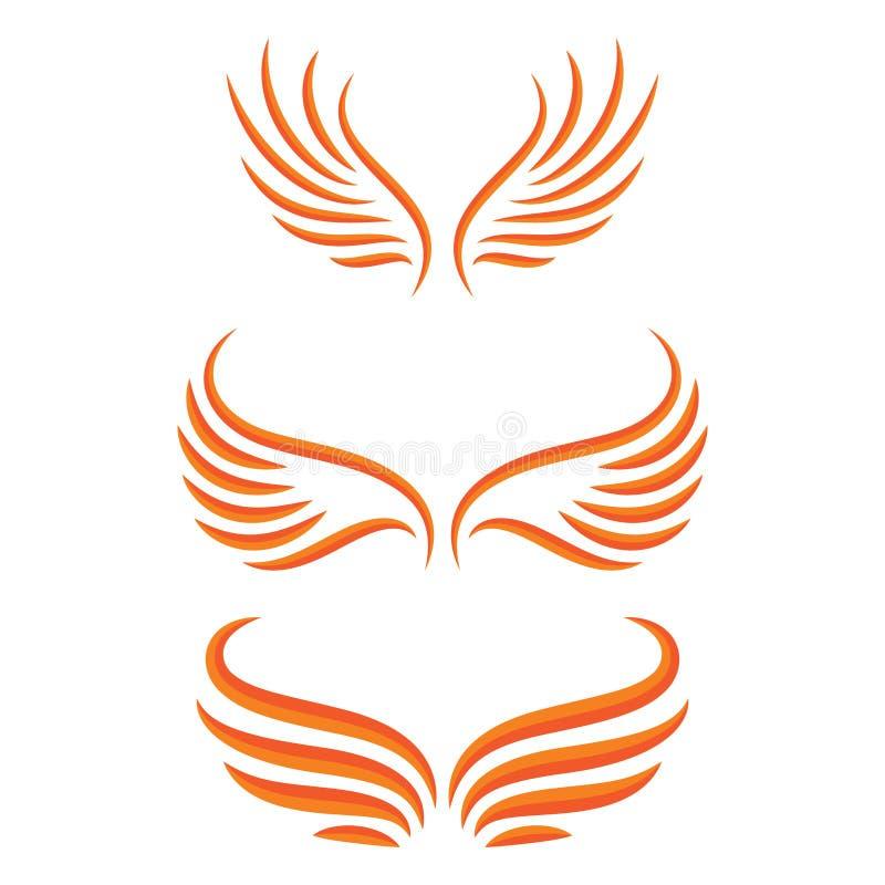De reeks van de vleugelsvogel stock illustratie