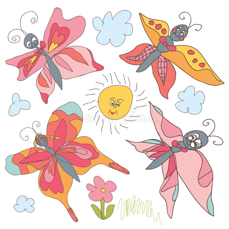 De reeks van de vlinderkrabbel. De handtekening van kinderen royalty-vrije illustratie