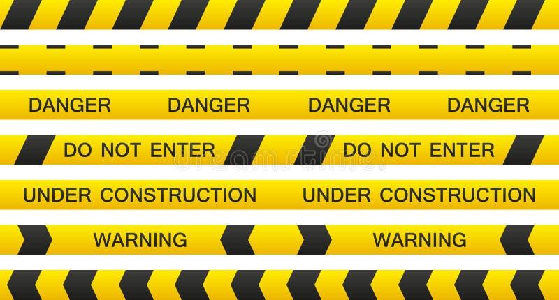 De reeks van de waarschuwingsband vector illustratie