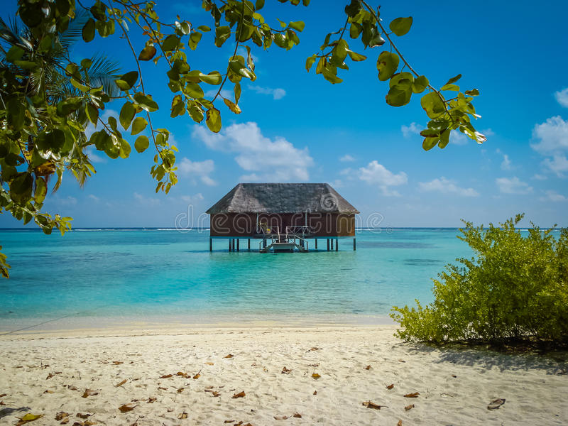 De reeks van de waterbungalow in de Maldiven stock afbeelding