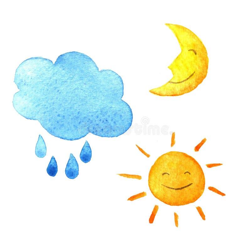 De reeks van de weerwaterverf pictogrammen Leuke het glimlachen zon, maan, ster, dalingen, en wolk Hand geschilderde illustratie royalty-vrije illustratie
