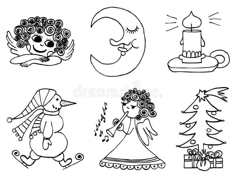 De reeks van de winterkerstmis, geïsoleerde voorwerpen op witte bedelaars stock illustratie