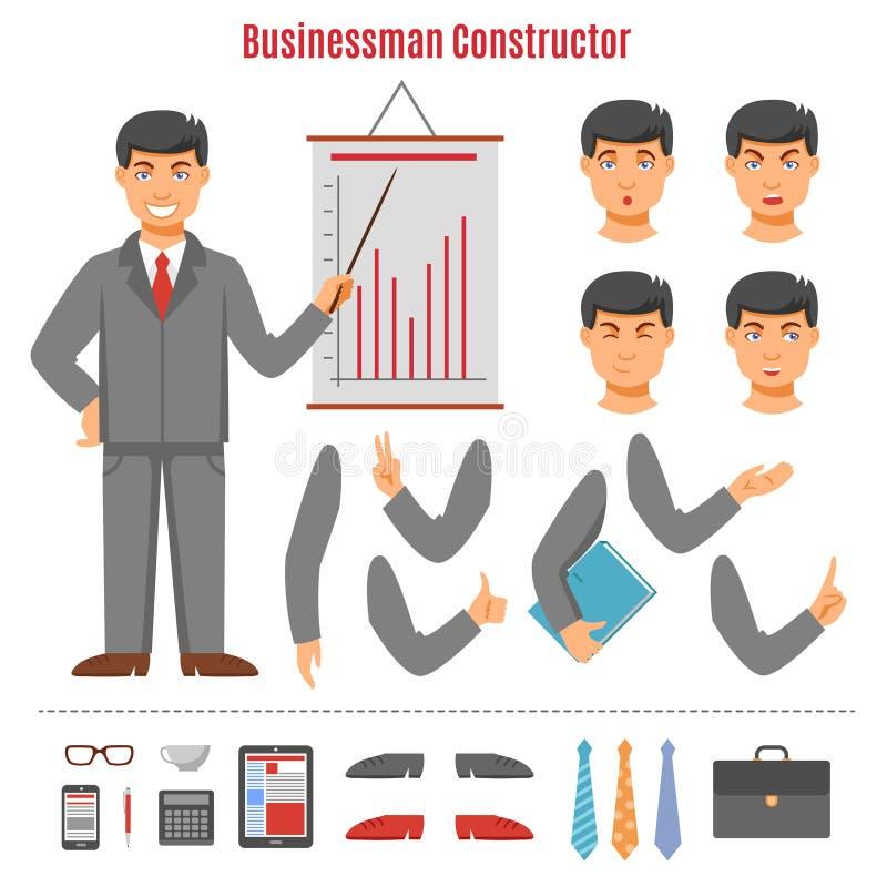 De reeks van de zakenmanaannemer vector illustratie