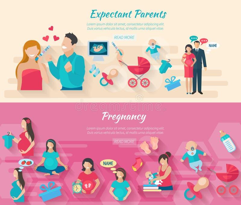 De Reeks van de zwangerschapsbanner royalty-vrije illustratie