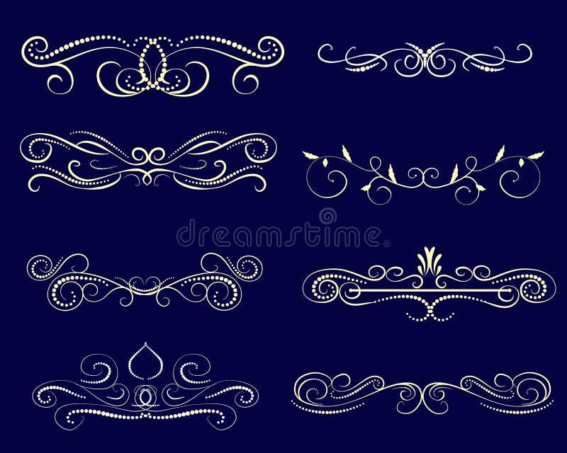 De reeks van decoratief bloeit verdelers, grenzen vector illustratie