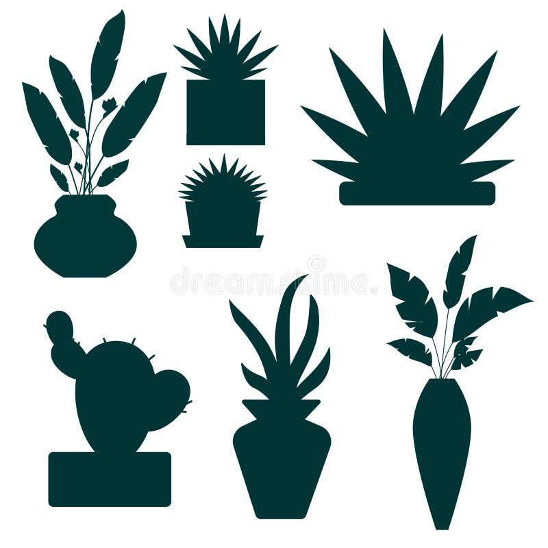 De reeks van decoratief huis plant en bloeit silhouettenillustratie Potten valse die installatie op wit wordt geïsoleerd vector illustratie