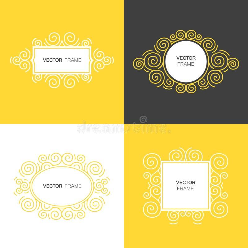 De reeks van decoratief kader met exemplaarruimte voor tekst maakte in de moderne vector van de lijnstijl royalty-vrije illustratie