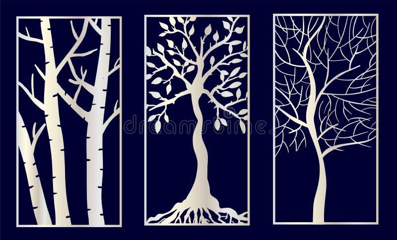 De reeks van Decoratieve laser sneed panelen met boomvormen royalty-vrije illustratie