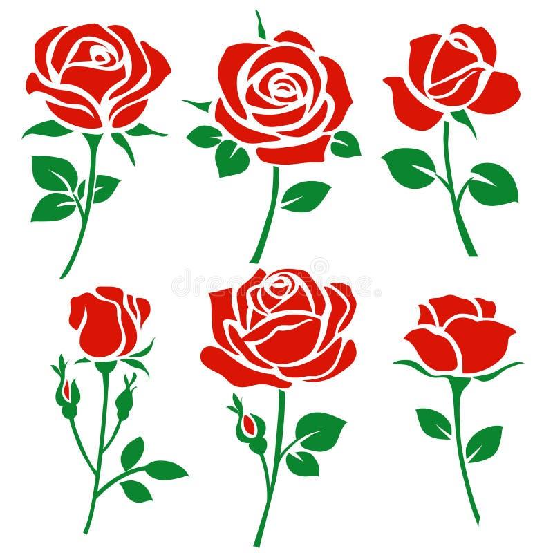 De reeks van decoratieve rood nam silhouet met groene bladeren toe Vector illustratie Het pictogram van de bloem vector illustratie