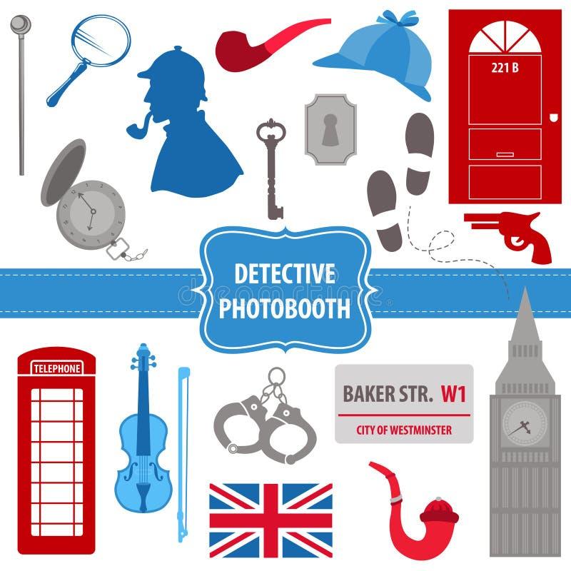 De reeks van detectivesherlock party vector illustratie