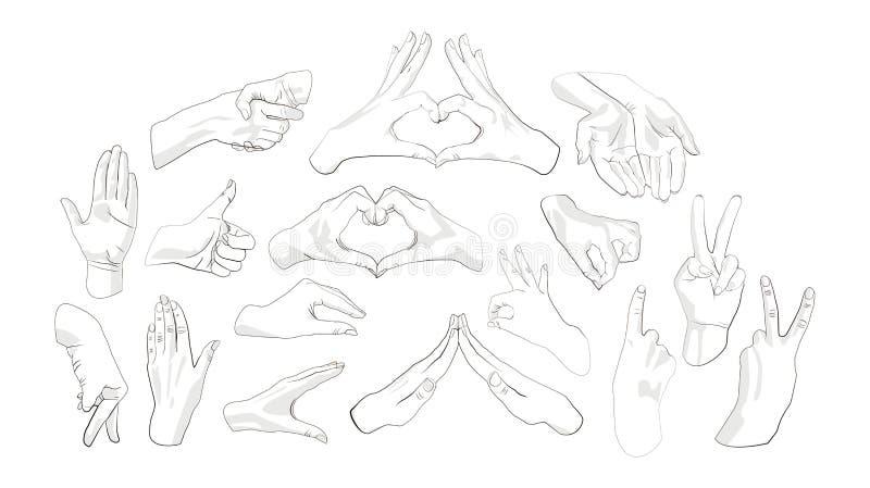 De reeks van dient verschillende gebaren in stock illustratie