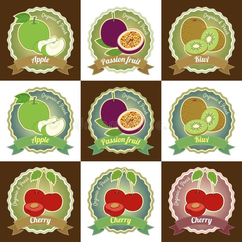 De reeks van diverse van de de kwaliteitsmarkering van de vers fruitpremie sticker van het het etiketkenteken en het embleem ontw stock illustratie