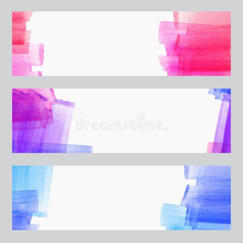 De reeks van drie banners, abstracte kopballen met waterverf kijkt kleurrijke slagen, abstracte artistieke inzameling als achterg stock illustratie